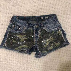 Miss Me sequin camo denim shorts